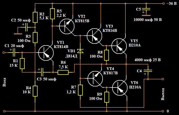 усилитель худа на германиевых транзисторах